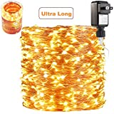 165 Ft Ultra Long 500 LEDs LED String Lights Plug in, Deck/Porch/Ceiling Copper Lights, Indoor/Outdoor Waterproof Decorative Lights for Bedroom,Patio,Garden,Party,Christmas Tree Warm White