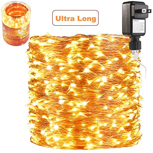 165 Ft Ultra Long 500 LEDs LED String Lights Plug in, Waterproof Deck/Porch/Ceiling Copper Lights, Indoor Decorative Lights for Bedroom,Patio,Garden,Party,Christmas Tree Warm White