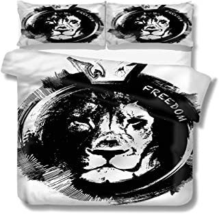 Mademai Queen Size Duvet Cover Set Lion,King of The Forest Freedom Decorative 3 Piece Bedding Set with 2 Pillow Shams