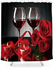 Valentine/'s Day Rose Wine Bottle Red and Black Shower Curtain Set Bathroom Decor