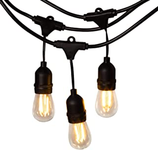 GIGALUMI 48 FT Edison Bulb String Lights, Weatherproof Outdoor String Lights with 16 pcs S14 Bulbs, Commercial Grade Patio Lights for Bistro Garden
