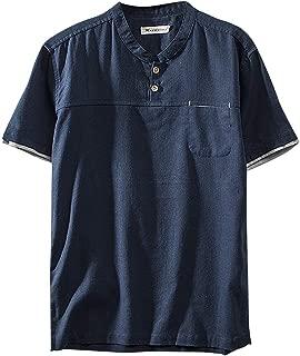 Jumaocio Men's Cotton Linen Solid Color Short Sleeve Henley T-Shirt