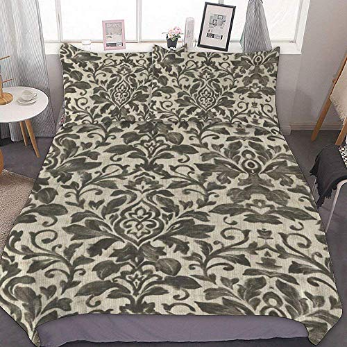 88888 Bettbezug-Set, Mikrofaser, Einzelbettgröße, französischer Flohmarkt – graues Blumenmuster, dekoratives 3-teiliges Bettwäsche-Set mit 2 Kissenbezügen, ohne Bettlaken