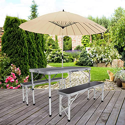 Milestone Camping 20189 Portable Camping Table and Bench with Parasol Hole/Outdoor Foldable Picnic Set/Carry Case Included