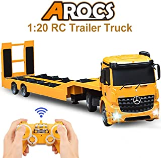 DOUBLE E RC Tow Truck Licensed Mercedes-Benz Acros Detachable Flatbed Semi-Trailer Engineering Tractor Remote Control Trailer Truck Electronics Hobby Toy with Sound and Lights