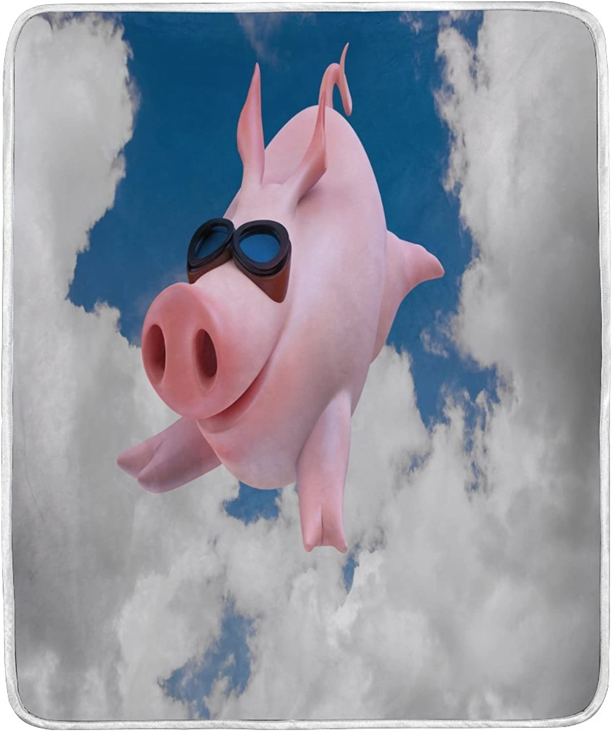 ALAZA Home Decor Funny Pig Piggy Sky Blanket Soft Warm Blankets for Bed Couch Sofa Lightweight Travelling Camping 60 x 50 inch Throw Size for Kids Boys Women