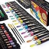Pintura Acrilica Set,Shuttle Art 66 Colores 22ml/Tubo con 3 Pinceles de Dalidad...