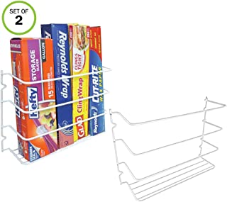 Evelots Wrap Organizer Rack-Kitchen Cabinet Door-Wall-Plastic Coated Iron-Set/2