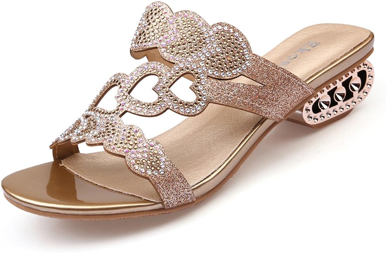 GenePeg Women's Heeled Sandals Cut-Outs Rhinestone Medium Heel shoes