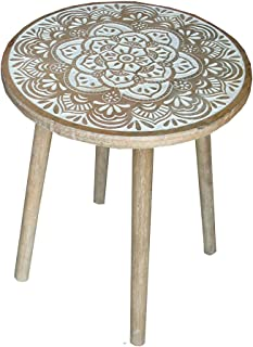Deco Dream Bed side end table white additional stand for laptop & serving-hand carved home sofa decoration accessories