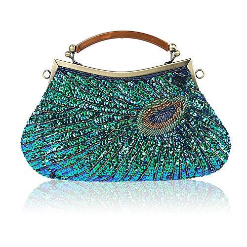 Guozi Damen Einzigartige Luxus Pailletten Perlen Abendtasche Clutch Strass Pfauen Umhängetasche Handtasche Tasche für Hochzeit Party (Peacock Blue)