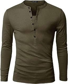 Men Split Neck Long Sleeves Button Upper Casual Tops