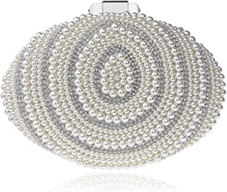 Bag for Women Lady Banquet Bag Pearl Evening Bag New Beaded Dinner Bag Fashion (Color : White, Size : XS)