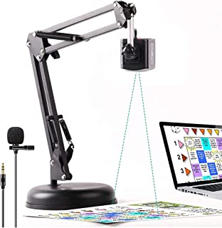 8MP USB 2-in-1 Document Camera and Webcam for Teacher,High Definition Scanner with Rotate Arm and Lavalier Microphone,OCR ...