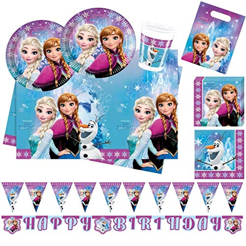 Procos 10110970B Partyset Disney Frozen Northern Lights, maat XL, 52-delig