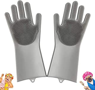 Gadgetbite Pet Wash Gloves Magic Silicon Gloves for Dogs and Cats with Scrubber for Pet Grooming