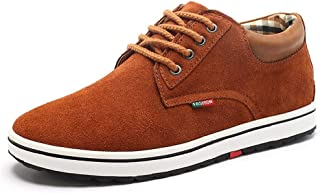 Shoes Comfortable Men Skate Sneakers Lace Up Outdoor Casual Running Suede Vegan Anti-Slip Flat Height Increasing Round Toe Fashion (Color : Light Brown, Size : 8 UK)