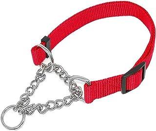 ASASX Collar de Perro Collar de Nylon de Mejor Venta con Cadena de eslabones de Soldadura Collar de Mascota Accesorios de Entrenamiento para Perros Tamaño Ajustable Collar de tamaño Ajustable Rojo