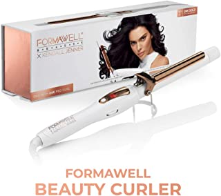 Formawell Beauty x Kendall Jenner One Inch 24K Gold Pro Hair Curler | Ultra-Fast Heating Up to 430°F with LED Display | Negative-Ion Conditioning | Dual Voltage, No-Tangle 8ft Cord