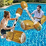 TURNMEON 4 Pcs Inflatable Pool Fighting Float Row Toys Battle Log Rafts for 2 Players Adults Children Summer Pool Party Water Sports Games Float Toys Swimming Pool Water Toys (57' x 14')