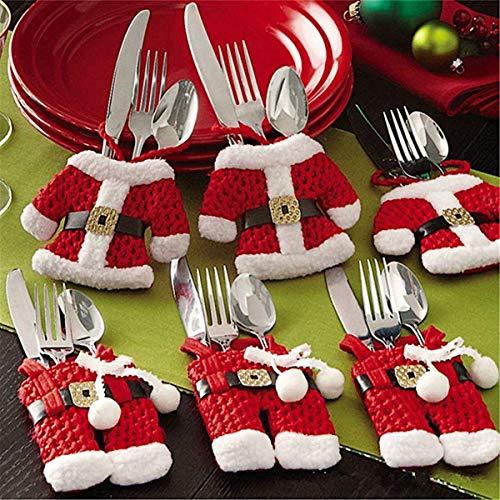 Watooma Zogin Weihnachten Besteckhalter Taschen 6pcs Sankt-Klage Weihnachten Dekoration Besteck Kostüm Kleine Hosen und Kleidung Besteck-Sets(6 Stücke)