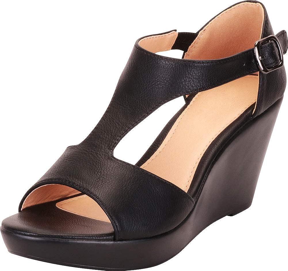 Cambridge Select Womens Open Toe T-Strap Chunky Platform Wedge Sandal