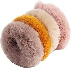 SBYURE 4 Pieces Hair Scrunchies Rabbit Faux Fur Fluffy Maomao Hair Bands for Women,Pink khaki beige yellow