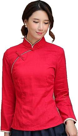 c3e1db003 Shanghai Story Chinese Shirt Long Sleeve Tang Qipao Top Blouse