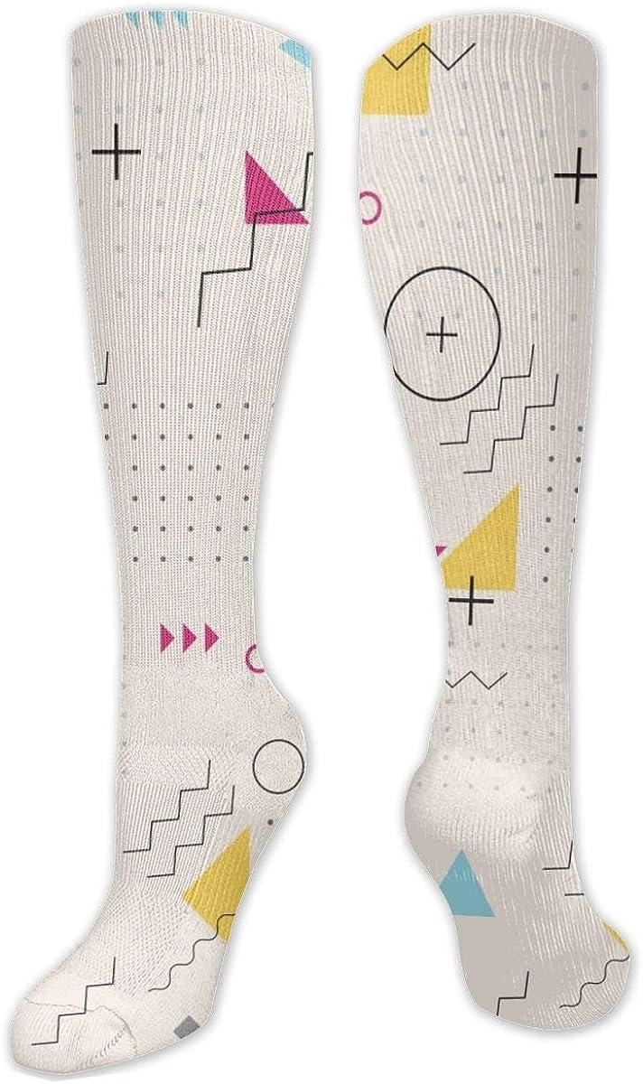 Retro Geometric Knee High Socks Leg Warmer Dresses Long Boot Stockings For Womens Cosplay Daily Wear