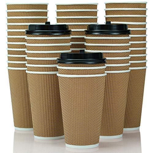 OzBSP 100 Pack BROWN 16 oz Disposable Coffee Cups with Lids - Insulated Double Wall 16oz Paper Coffee Cups with Lids - No Sleeves Needed - to Go Coffee Cup Leak Proof Lids. Microwaveable Hot Cups togo