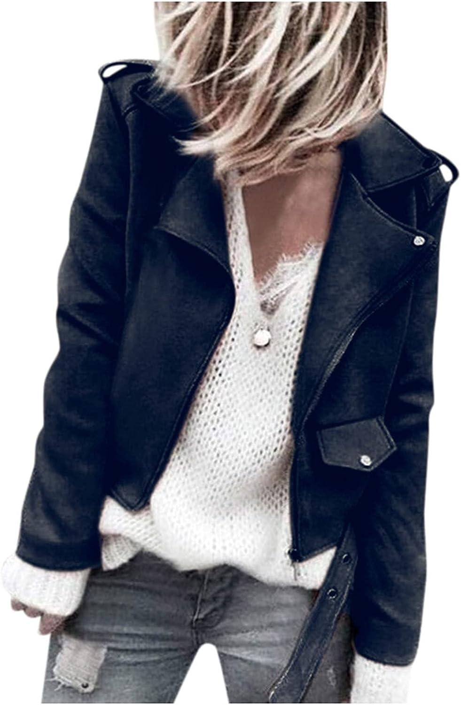 Tenworld Faux Suede Jackets for Women Casual Long Sleeve Zipper Short Moto Biker Coat