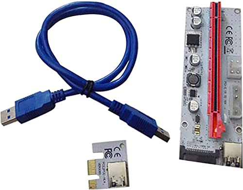 popular PCI-E Express popular Cable 1X to 16X Graphics Extension Ethereum ETH Mining Powered Riser Adapter Card, 60cm Blue USB 3.0 Cable, outlet online sale 4 Solid Capacitors (VER 008S) sale