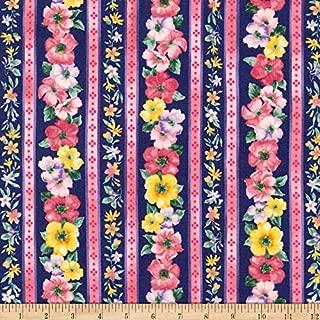 Robert Kaufman Woodside Blossom Flowers Stripes Fabric, Navy, Fabric By The Yard