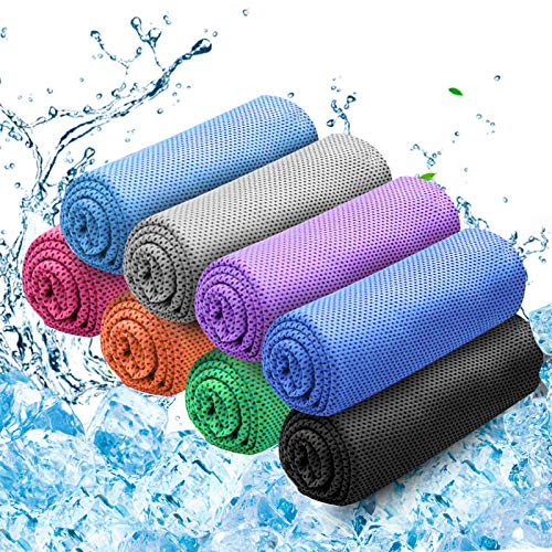Cooling Towel for Neck, Instant Cooling Towel 8 Pack, Neck Cooling Towel Ice Cool Towel Microfiber Soft Absorbent Cooling Towel Quick Dry Towel for Yoga, Golf, Gym, Work Out, Sports