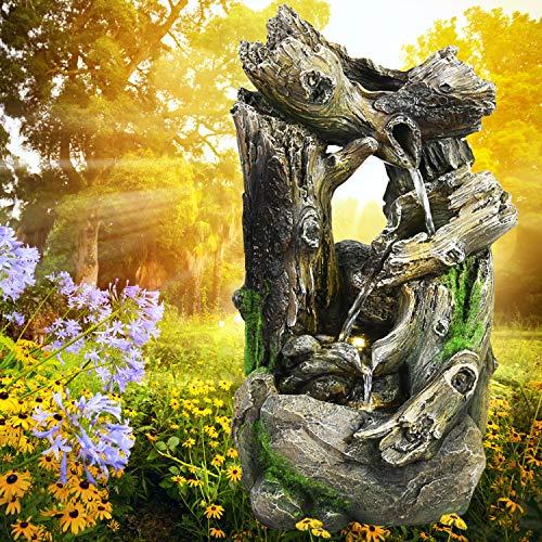 Gartenbrunnen Brunnen Zierbrunnen Zimmerbrunnen Springbrunnen Brunnen 230V Wasserfall Wasserspiel für Garten, Gartenteich, Terrasse, Balkon Sehr Dekorativ (WALD-GEFLÜSTER mit LED-Licht)
