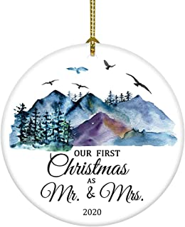 Best JUOOE Christmas Ornament Our First Christmas Mr. and Mrs. Gift for Newlywed Couple 2020 Christmas Decorations(Blue as Mr & Mrs) Review