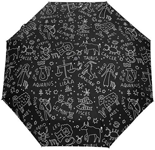 INSTO Umbrella de Viaje Plegable Iconos Zodiaco a Prueba de Viento Automo Auto Aperto Cerras Cerras Solicitud de Solicitud de Solicitud