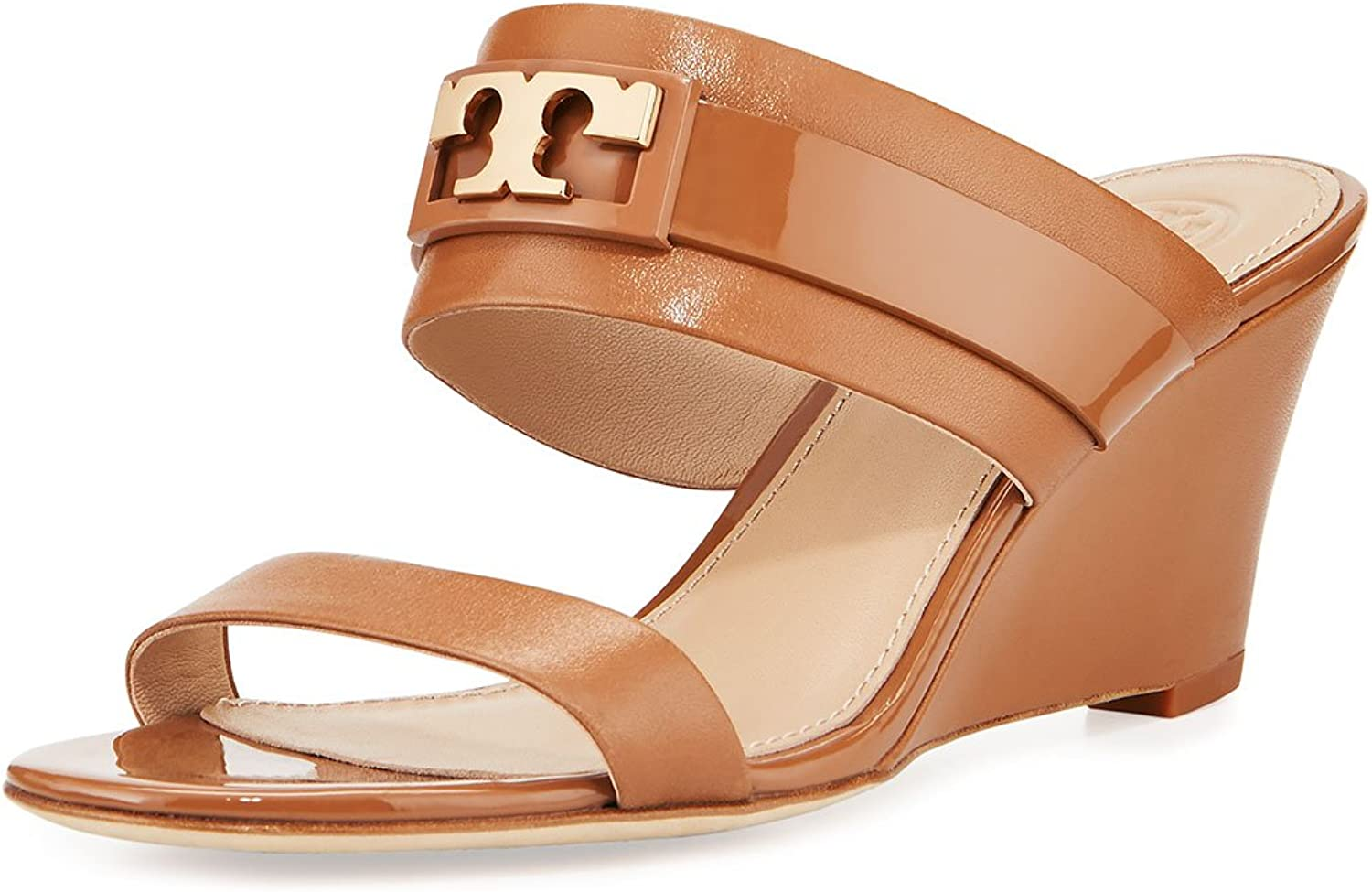 Tory Burch Gigi Calfskin and Patent Leather Wedge Sandals, Royal Tan
