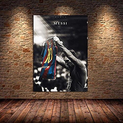 Weijiajia Famoso fútbol Estrella Arte Lienzo Pintura Carteles e Impresiones Imagen para Sala de Estar Dormitorio Amantes del fútbol decoración del hogar 50x70cm F-894