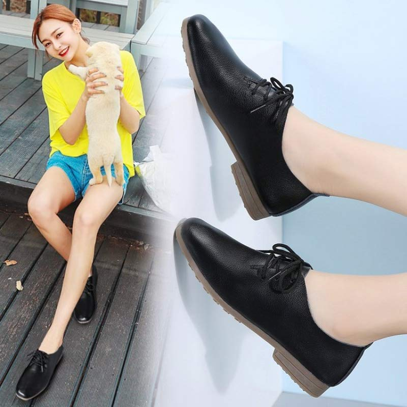 Gangxia 2019ファッションジョーカーの新しい革4色の女性の靴カジュアルシューズシングルシューズ
