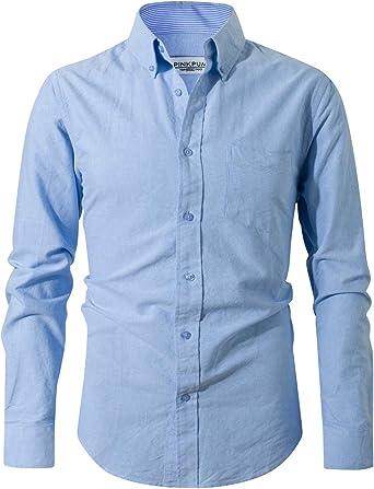 Pinkpum Oxford Camisa para Hombre Manga Larga Camisa Casual Básico Clásico
