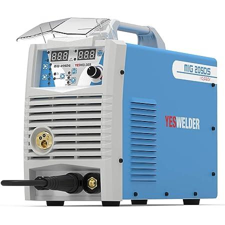 YESWELDER Digital MIG-205DS MIG Welder,200Amp 110/220V Dual Voltage, Gas Gasless MIG Welding Machine MIG/Lift TIG/ARC 3 in 1 Multiprocess Welder