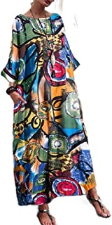 Mogogo Womens Crew Neck Fashional Individuality Plus Size Linen Maxi Dress