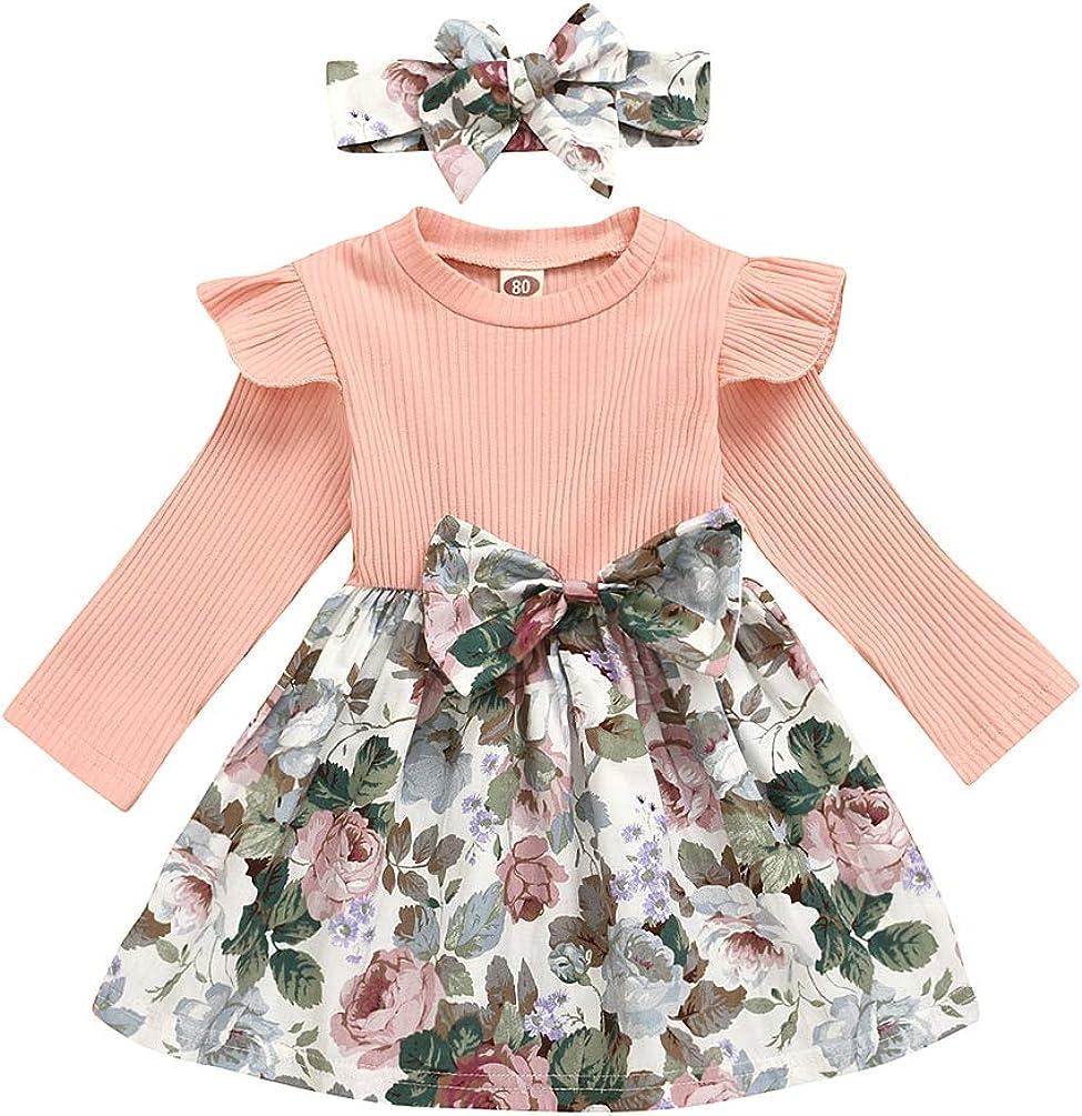 Baby San Diego Mall Girls Floral Ribbed Dress Sleeve Ruffle Long Bowtie Award Dresses