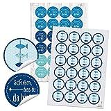 SET 24 SCHÖN DASS DU DA BIST Aufkleber + 24 FISCHE r&e selbstklebende maritime Sticker blau türkis Etiketten Verpackung Geschenke Kommunion Tischkarten basteln Hochzeit Geburtstag