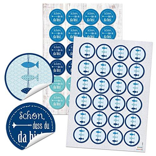 SET 24 SCHÖN DASS DU DA BIST Aufkleber + 24 FISCHE runde selbstklebende maritime Sticker blau türkis Etiketten Verpackung Geschenke Kommunion Tischkarten basteln Hochzeit Geburtstag