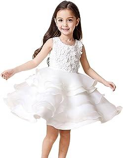 やみどりキッズワンピース 女児用ドレス 子ども 女の子 お姫様 プリンセスドレス レース 背透け 発表会 結婚式 ウエディング ホワイト