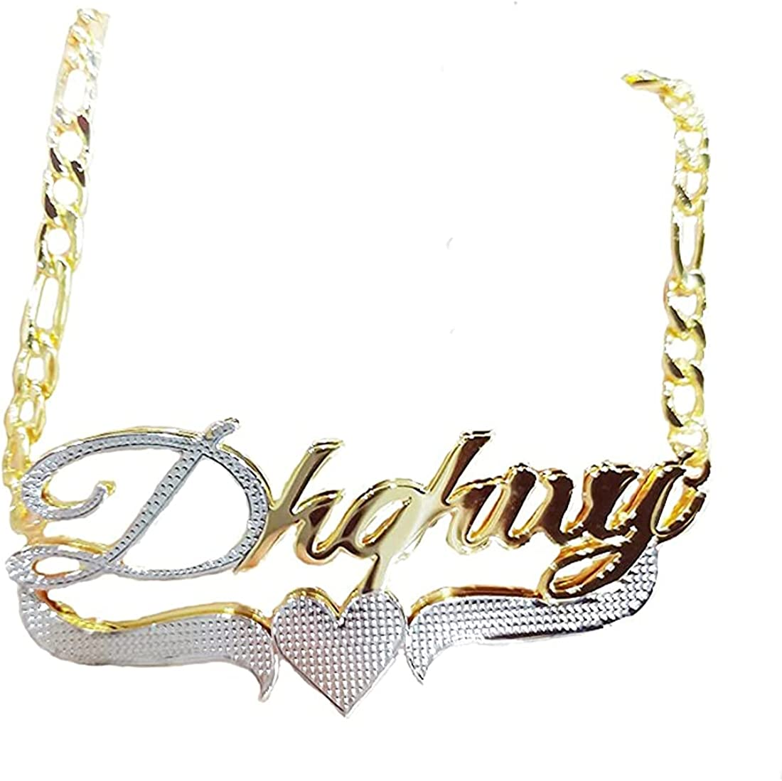 Custom Two Tone Name Necklace Double Plated Pendant Necklace Stainless steel Personalized Name Plate Necklace for Women