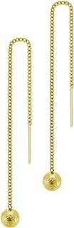 Womens Stainless Steel Ball Drop Threader Dangle String Earring
