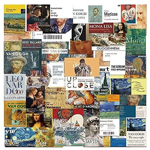 HENJIA 50 pz Museo d'Arte Famoso Pittore Famoso Dipinto Computer Tazza di Acqua Bagagli Adesivi creativi Impermeabili